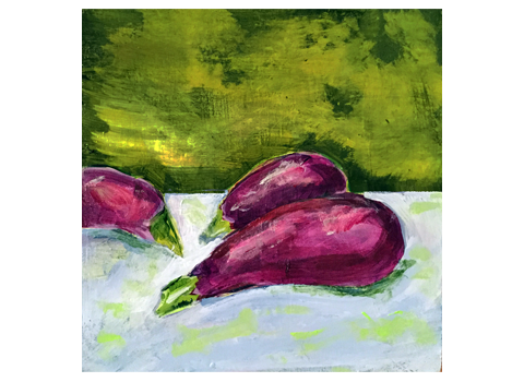 Eggplants - Barbara Harvie (acrylic)