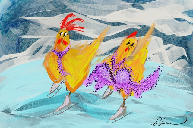Pairs Skating Chickens - Barbara Harvie (digital)