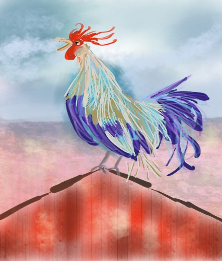 Rooster on Roof - Barbara Harvie (digital)