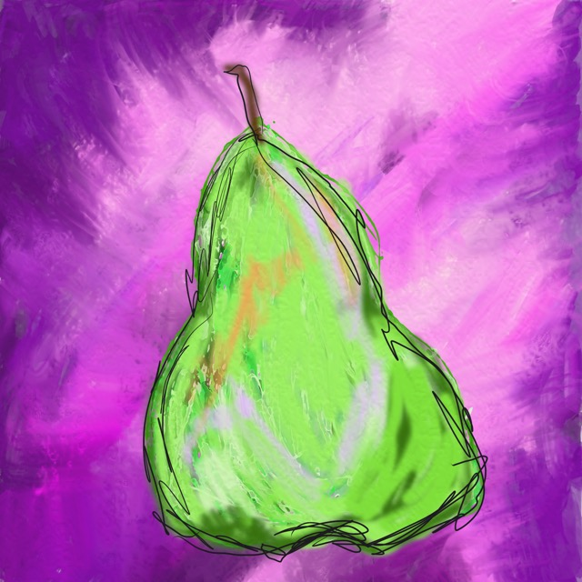 Green Pear on Purple by Barbara Harvie (digital)